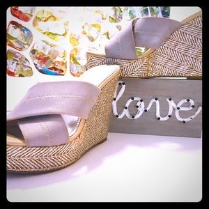 Donald J Pliner 5 Inch Stretch Silver & Tan Wedges